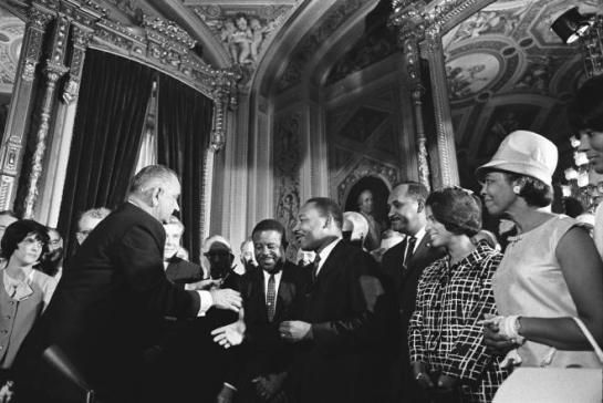Johnson and King at Signing of 1965 Voting Rights Act